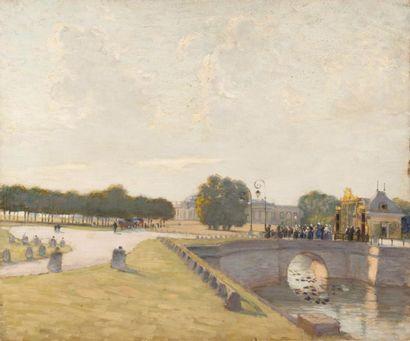 Château et parc de Chantilly Huile sur toile,...