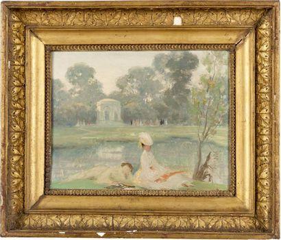 Jeune femme à Versailles, le pavillon du...