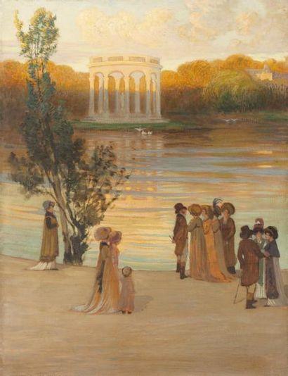 Scène du Directoire devant le temple de l'amour...