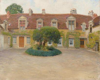 La cour arborée à Chantilly Huile sur toile,...