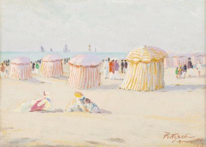 Les tentes sur la plage de Deauville Huile...