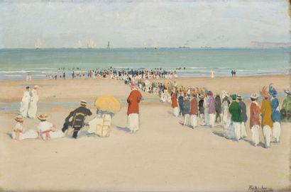 Baignade, bord de plage à Deauville Huile...