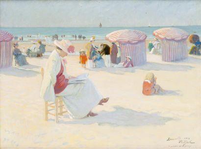 Marie Louise sur la plage à Deauville Huile...