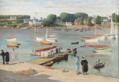L'embarcadère à Bénodet Huile sur toile,...