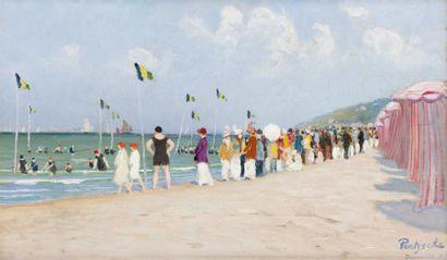 Les bains de mer à Deauville Huile sur toile,...