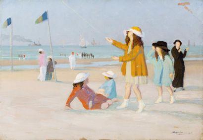 Petites filles aux cerfs-volants sur la plage...
