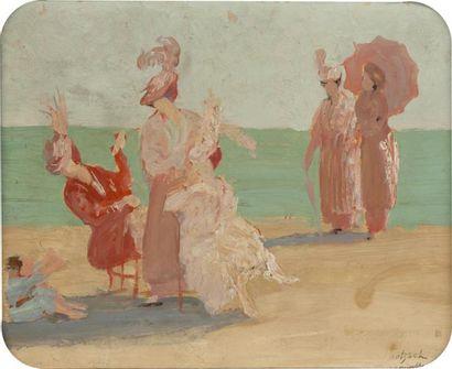 • Elégante sur la plage à Deauville  Huile...
