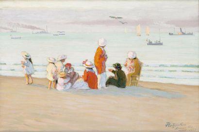 La famille sur la plage et les aéroplanes...