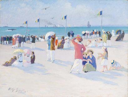 Concours d'aéroplane sur la plage de Deauville...