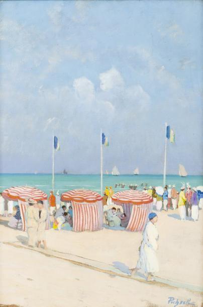 Tentes et drapeaux sur la plage de Deauville...