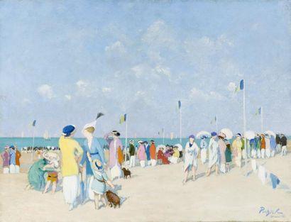 Foule sur la plage de Deauville Huile sur...