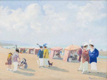 Elégantes et enfants sur la plage de Deauville...