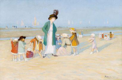 Jeune femme et enfant sur la plage de Deauville...