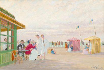 Sur la plage de Deauville, le bar Américain...