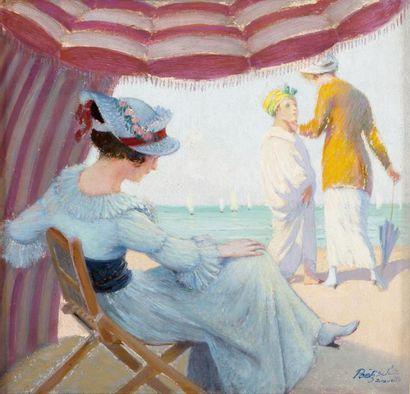 Elégante sous la tente à Deauville Huile...