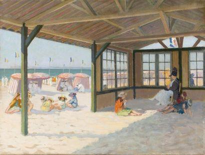 Enfants jouant sur la plage de Deauville...