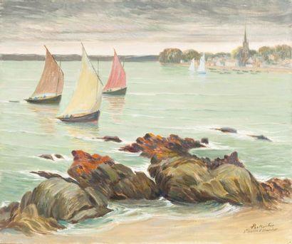 Sainte Marine, Bénodet Huile sur toile, signée...
