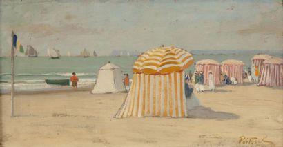 Scènes sur la plage de Deauville Ensemble...