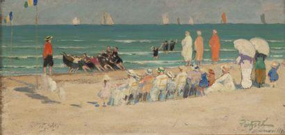 Scènes sur la plage de Deauville Ensemble de 3 huiles sur carton sous un meme encadrement,...