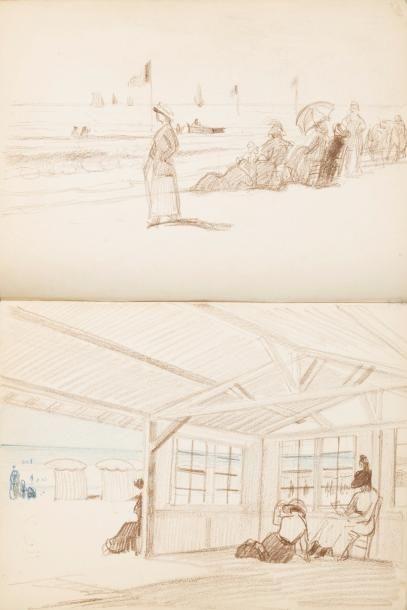 Deauville Album de treize dessins. Format...