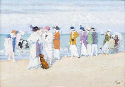 Elégantes au bord de l'eau sur la plage de...