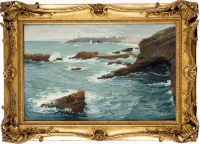 Le phare, Biarritz Huile sur toile, signée...