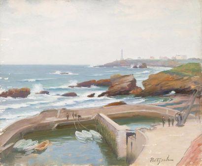 Le petit port de Biarritz Huile sur toile,...