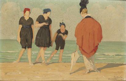 Baigneuses et élégantes à Deauville Huile...
