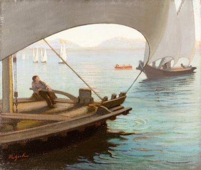 Bateaux de pêche sur le lac de Neuchâtel...