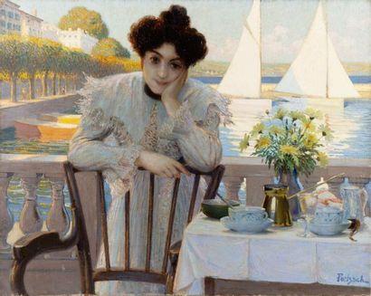 Jeune femme prenant le thé au bord du lac...