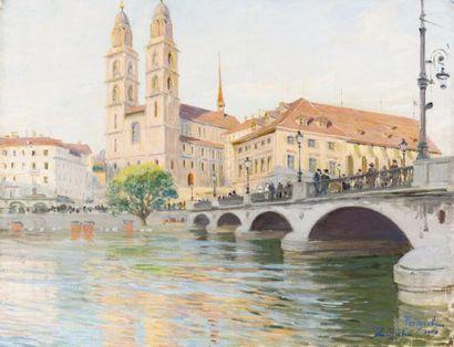 La rivière et la cathédrale Grossmünster...