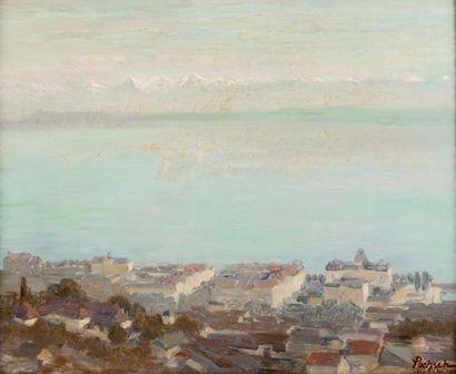Le lac de Neuchâtel Huile sur toile, signée,...