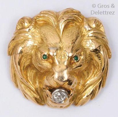 Broche «Tête de Lion» en or jaune ciselé,...