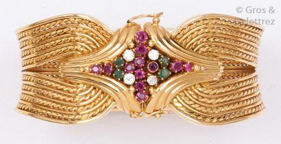 Bracelet manchette en or jaune tressé orné,...