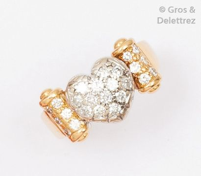 Bague «Coeur» en or de deux couleurs ornée...