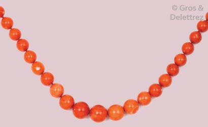 Collier de perles de corail rouge en chute....