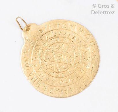 Médaille double face en or jaune gravée de...