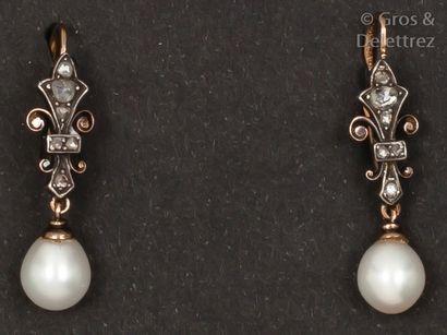 Paire de boucles d'oreilles en or jaune et argent à motif de fleurs de Lys ornées...