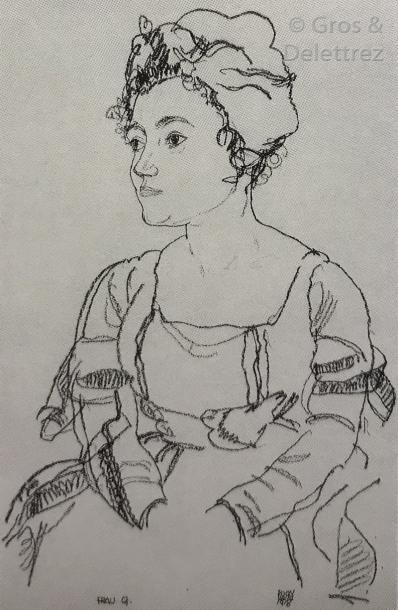 Egon SCHIELE (1890-1918) Portrait de Mme Grünwald et de sa fille (Hélène et Lennie)...