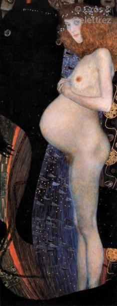 Gustav KLIMT (1862-1918) Femme enceinte allongée  Crayon sur papier Japon.  Signé...