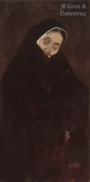 Gustav KLIMT (1862-1918) Vieille femme assise, la main sur le front, circa 1909  Crayon...