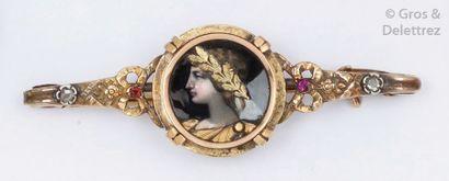 Barrette en or et argent ornée d'une miniature...