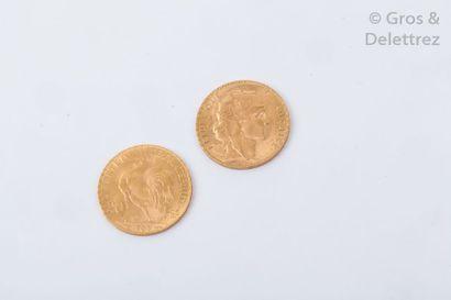 Deux pièces de 20 Francs. (1908 Marianne)....