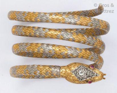 Bracelet souple «Serpent» en or jaune et...