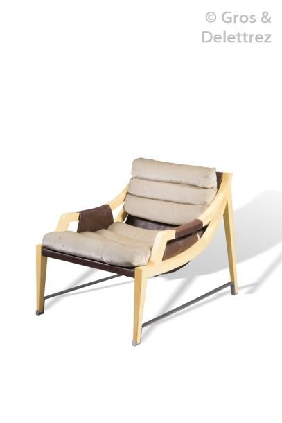 JACQUES QUINET (1918-1992) Rare fauteuil...