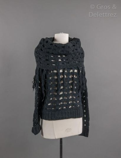 KENZO Pull à important col roulé en maille de laine ajourée noire, finitions frangées,...