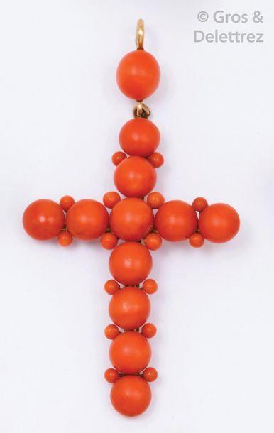 Pendentif «?Croix?» en or jaune orné de perles...