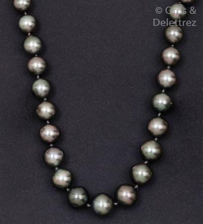 Collier de perles de culture grises de Tahiti...