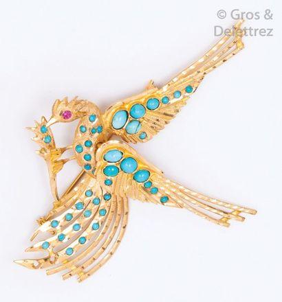 Broche «?Oiseau?» en or jaune ciselé ornée...