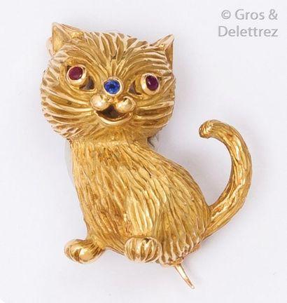 Broche «?Chat?» en or jaune ciselé ornée...